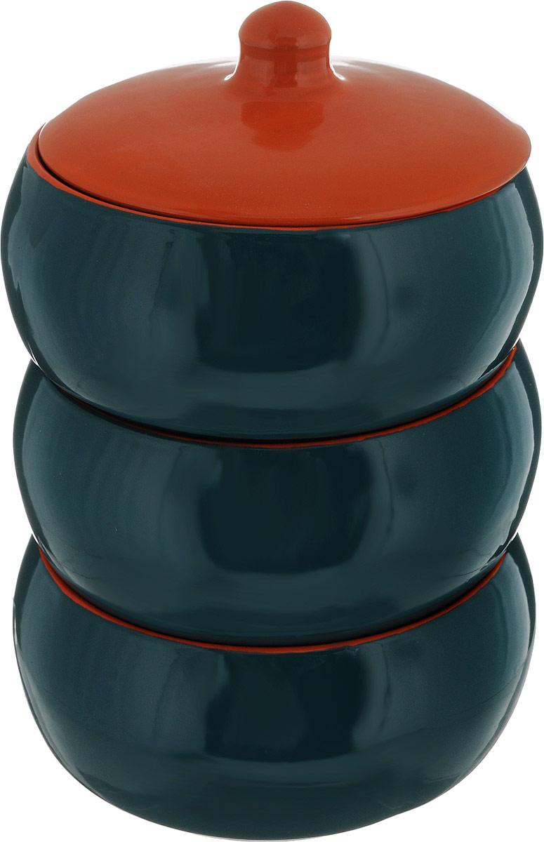Набор столовой посуды Борисовская керамика Русский, цвет: зеленый, оранжевый, 4 предмета набор столовой посуды борисовская керамика на троих цвет синий белый 4 предмета