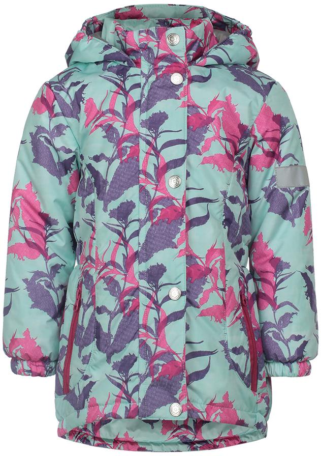 Куртка для девочки Jicco By Oldos Цветы, цвет: ментоловый. 2J8JK02. Размер 110, 5 лет куртка для девочки jicco by oldos 3к1717 эсма цвет сирень бирюзовый 92 4690205253828
