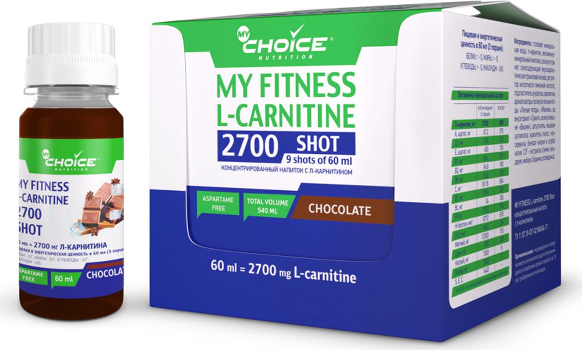 Напиток MyChoice Nutrition My Fitness L-Carnitine 2700 Shot, шоколад, 9 x 60 мл4627126939425Это концентрированный напиток с л-карнитином, витаминно-минеральным комплексом и натуральными экстрактами для ускорения процесса жиросжигания, оптимизации метаболизма, поддержания сердечно-сосудистой системы, а также защиты организма от возрастных изменений.Состав: столовая минеральная вода, л-карнитин, витаминно-минеральный комплекс, регулятор кислотности лимонная кислота, подсластитель сукралоза, загуститель пищевая целлюлоза, бензоат натрия и сорбат калия. Без красителя.