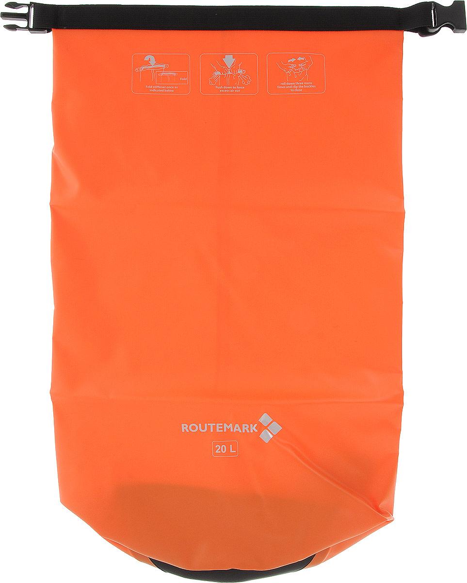 Гермомешок Routemark, цвет: оранжевый, 58 х 36 см6499Гермомешок Routemark, изготовленный из прочного водоотталкивающего ПВХ, нужен всем, кто любит активноевремяпрепровождение. К гермомешку прикрепляется регулируемый по длине ремень на застежках-карабинах,благодаря чему вы сможете носить этот практичный мешок как рюкзак на плече, или же, как сумку в руках. Сподобным изделием, вы будете уверены, что ваши гаджеты, личные вещи, документы всегда будут в целостии сохранности и защищены от воды. Вместимость мешка: 20 л Ширина: 36 см Высота: 58 см.