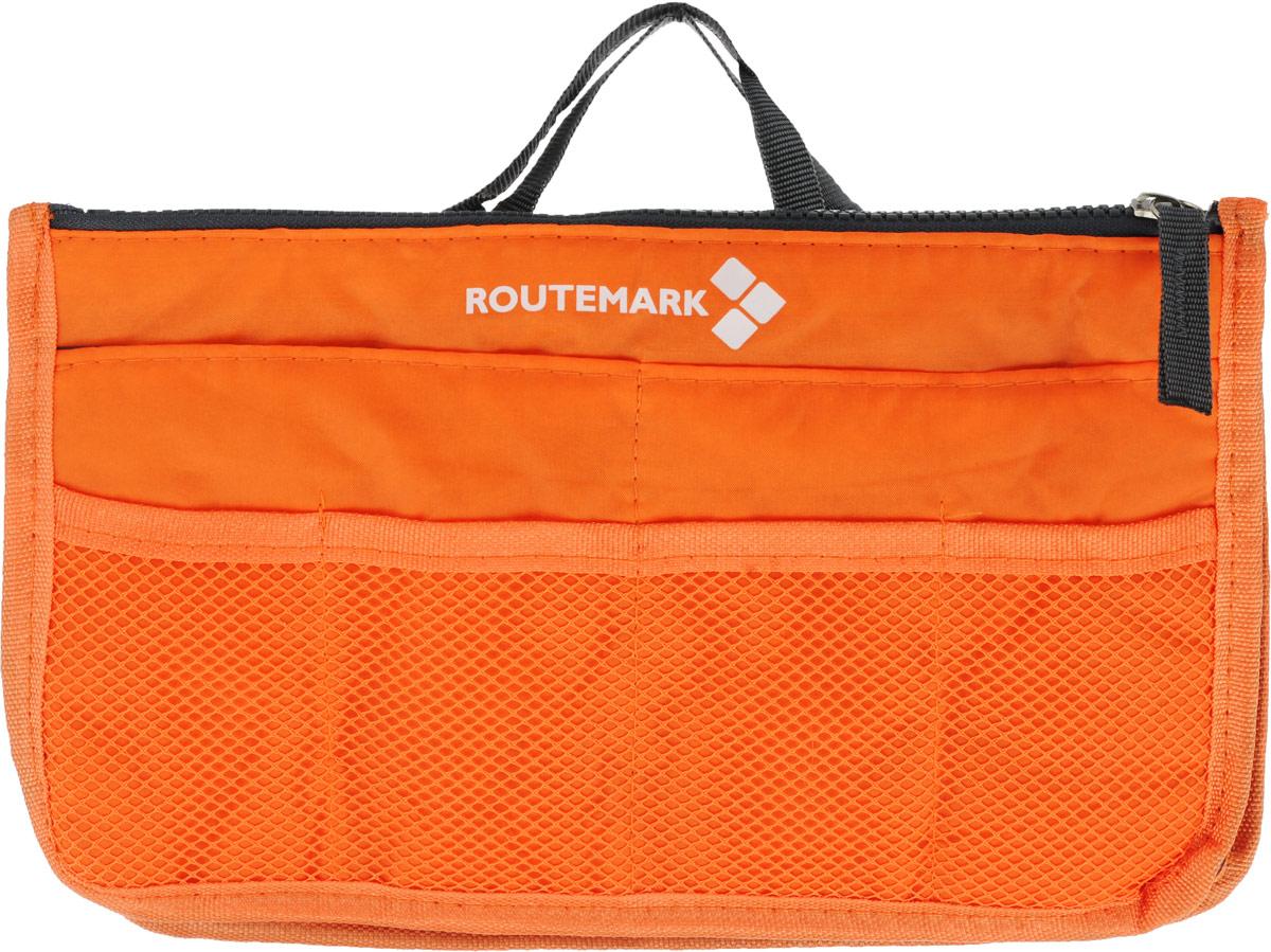 Органайзер для сумки Routemark, цвет: оранжевый, 27 х 16 см1760Практичный органайзер для сумки Routemark, имеющий компактные размеры и стильный дизайн, позволит навести порядок и положить все вещи на свои места. Это умное решение, которое вы непременно оцените после первого же использования. У каждой мелочи будет свое место. Возможности сумки не столь широки, а вот органайзер вполне с этим справится. Ведь у этого практичного аксессуара, выполненного из высококачественного материала, сразу 12 кармашков различных размеров. Вы с легкостью уберете телефон, косметичку, маникюрный набор, заколки, косметику.