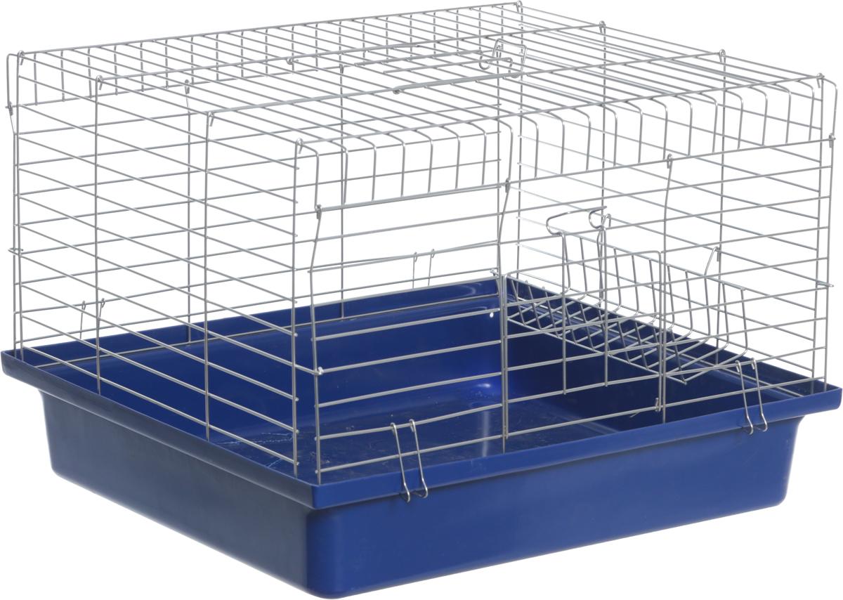 Клетка для кроликов Велес  Lusy Rabby , разборная, с подвесной кормушкой, цвет: синий, серебристый, 56 х 50 х 40 см - Клетки, вольеры, будки