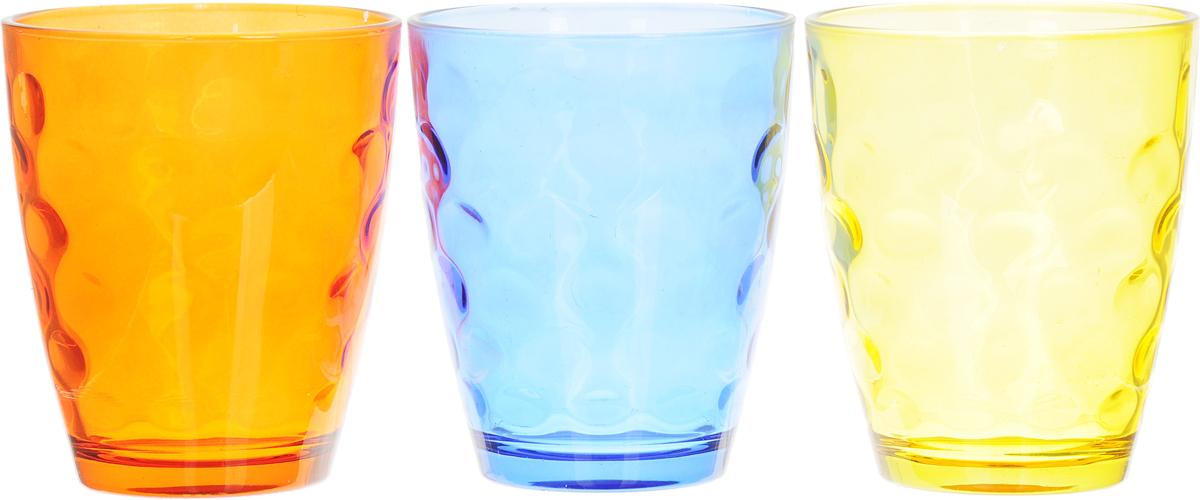 Набор стаканов Доляна Венский вальс. Весна, цвет: желтый, синий, оранжевый, 400 мл, 3 шт335174_желтый, синий, оранжевыйНабор стаканов Доляна Венский вальс. Весна, 400 мл, 3 шт