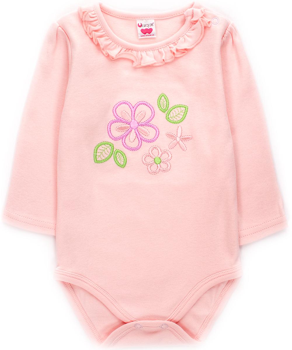 Боди с длинным рукавом для девочки Unique, цвет: розовый. U003905. Размер 80 красное боди emma xxl 3xl