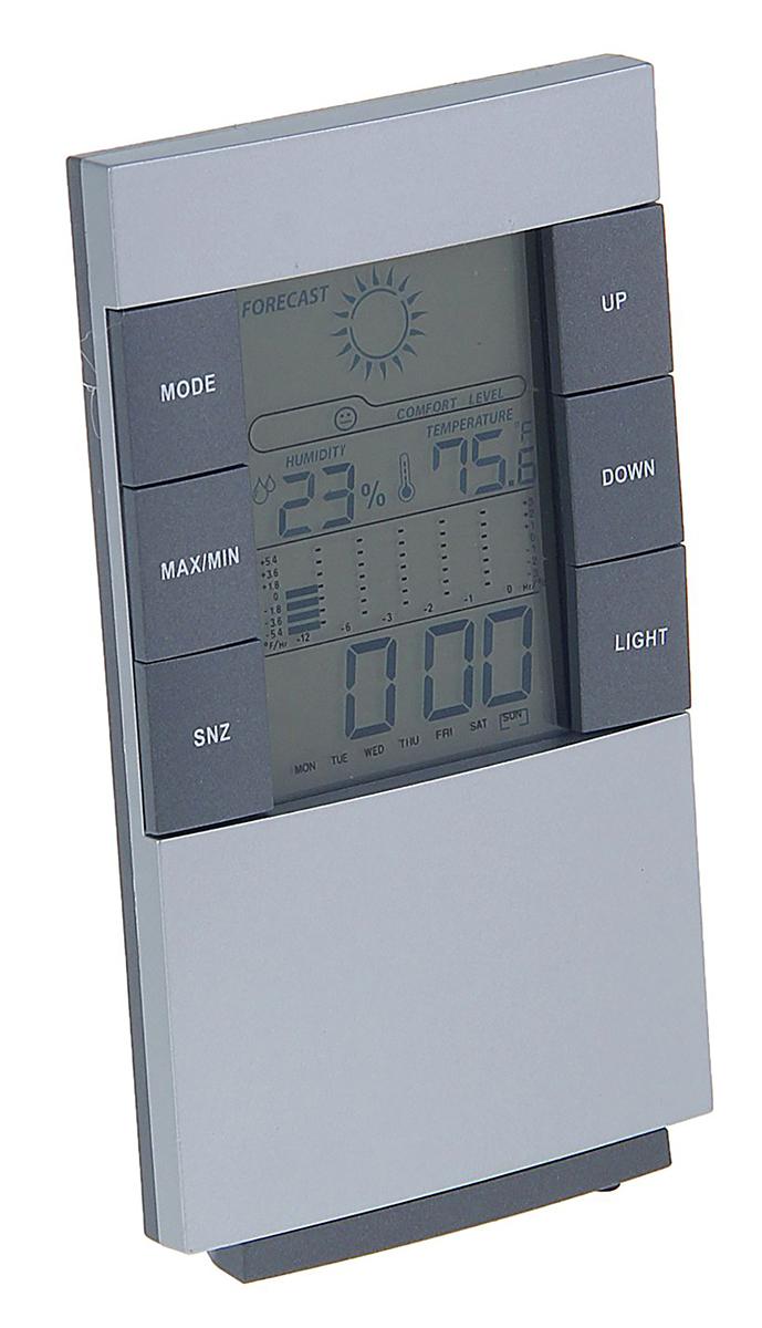 Часы-будильник Luazon Home. 11634501163450Электронные часы «Прогноз погоды» удобны в использовании и многофункциональны. Лёгкая настройка обеспечивается кнопками, расположенными на лицевой стороне устройства. На дисплее отображается дата, время, температура воздуха в помещении и влажность. С обратной стороны часов есть петля для того, чтобы прибор можно было повесить на стену. Характеристики Цифровой дисплей. Светодиодная подсветка экрана. Часы / Календарь (2001?2099 г.г.) Будильник с функцией повтора звонка будильника. Максимальные и минимальные показания температуры воздуха и влажности. Низкое энергопотребление: 3 Вт. Индикатор низкого заряда батареи. Возможность крепления к стене. Питание: от 2 батареек ААА (в комплект не входят). Гарантия: 6 месяцев. С электронным будильником LuazON вы точно не проспите!