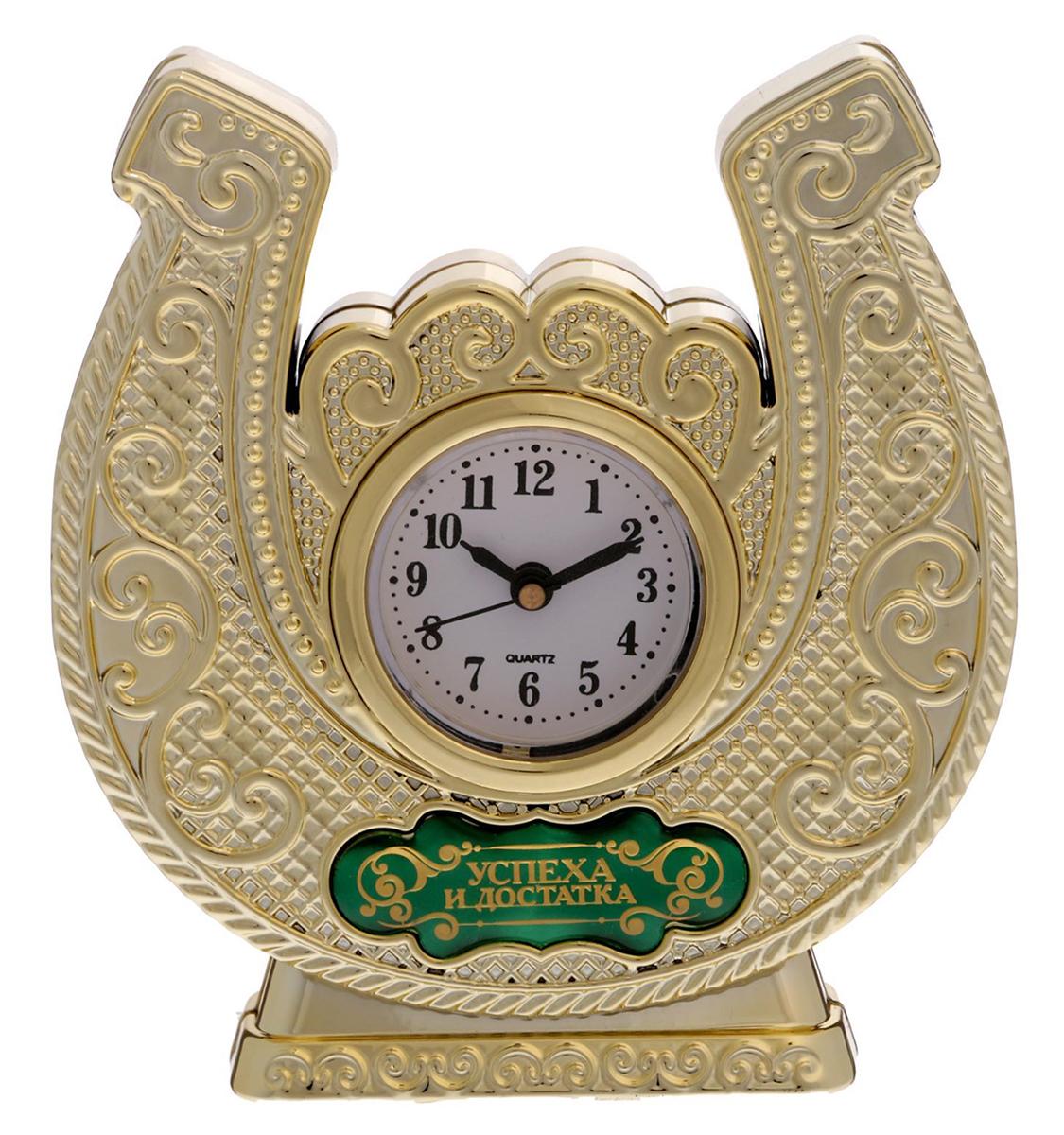 Часы настольные Успеха и достатка, 11,6 х 12,2 см. 16929091692909Время покорять мир Эти часы — прекрасный подарок 2 в 1! Они помогут правильно всё спланировать, а подкова принесёт удачу в делах и начинаниях. Фигурная статуэтка украшена шильдиком с добрым пожеланием, на обратной стороне выгравирована мотивирующая надпись. Инструкция Аккуратно достаньте механизм с циферблатом из корпуса. Установите время с помощью колёсика. Вставьте механизм обратно. Часы работают от батареек AG 13. Сувенир преподносится в подарочной коробочке с прозрачным окном.