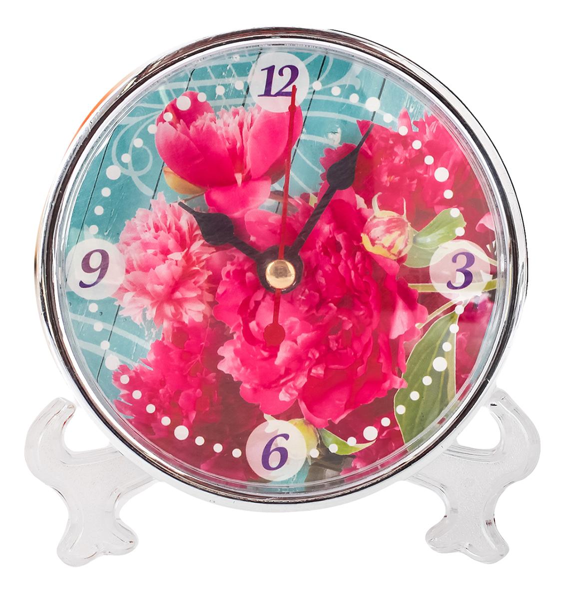 Часы настольные Пионы, 10 х 10 см. 21865802186580Каждому хозяину периодически приходит мысль обновить свою квартиру, сделать ремонт, перестановку или кардинально поменять внешний вид каждой комнаты. Часы настольные Пионы — привлекательная деталь, которая поможет воплотить вашу интерьерную идею, создать неповторимую атмосферу в вашем доме. Окружите себя приятными мелочами, пусть они радуют глаз и дарят гармонию.