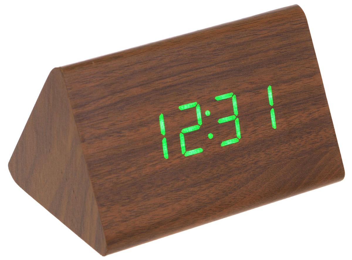 Данные часы совмещают в себе, помимо основной, функции будильника, термометра и календаря. Их также можно использовать как декоративный элемент вашего дома, поскольку изделие имеет минималистичный дизайн и выполнено под дерево. Особенности: календарь до 2099 г.; дисплей отображает время в 12- или 24-часовом режиме; термометр показывает температуру в градусах Цельсия (°C) или Фаренгейта (°F); формат даты на экране: число/месяц; в период времени с 18:00 до 7:00 дисплей работает в режиме пониженной яркости; возможность устанавливать до 3 будильников сразу; наличие энергосберегающего голосового режима работы (активируйте часы хлопком (> 60 дБ) или поглаживанием по ним рукой); на задней панели корпуса находятся кнопки управления: «вверх» (up), «вниз» (down) и «настройки» (set).
