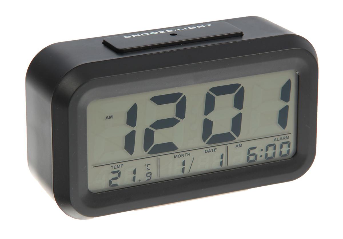 Часы-будильник. 26031292603129Часы-будильник оснащены ЖК-экраном с подсветкой, на котором отображаются время, температура и дата.