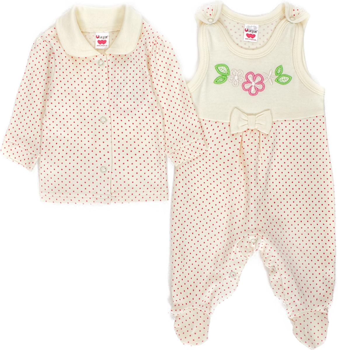 Комплект для девочки Unique: ползунки, распашонка, цвет: молочный. U004817. Размер 74