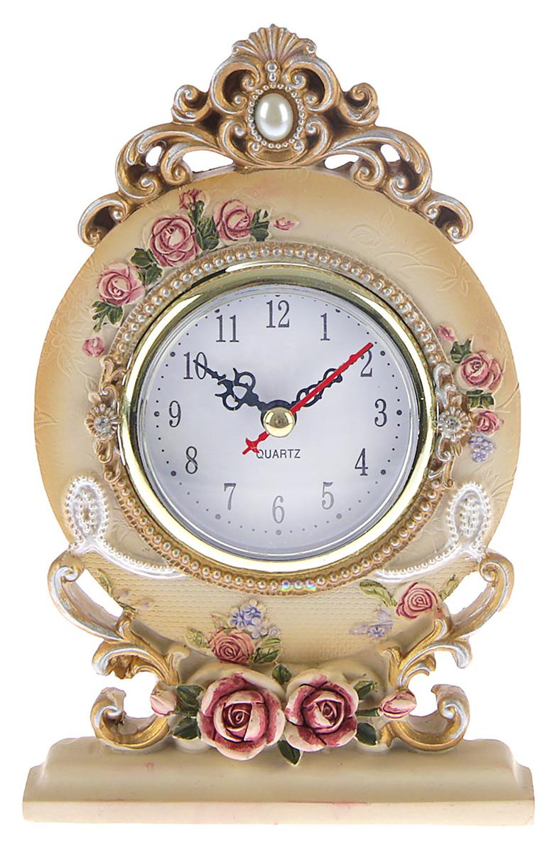 Часы настольные Лепнина. Круг. Розы, 10,5 х 16,5 см. 27570252757025Каждому хозяину периодически приходит мысль обновить свою квартиру, сделать ремонт, перестановку или кардинально поменять внешний вид каждой комнаты. — привлекательная деталь, которая поможет воплотить вашу интерьерную идею, создать неповторимую атмосферу в вашем доме. Окружите себя приятными мелочами, пусть они радуют глаз и дарят гармонию.
