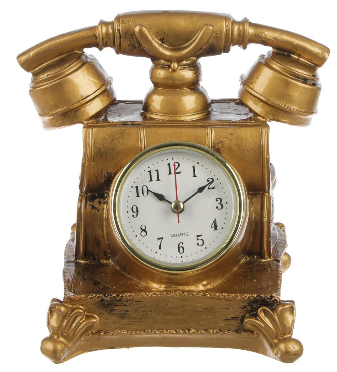 Часы настольные Ретро-телефон, 13 х 15,5 см. 27704182770418Каждому хозяину периодически приходит мысль обновить свою квартиру, сделать ремонт, перестановку или кардинально поменять внешний вид каждой комнаты. — привлекательная деталь, которая поможет воплотить вашу интерьерную идею, создать неповторимую атмосферу в вашем доме. Окружите себя приятными мелочами, пусть они радуют глаз и дарят гармонию.