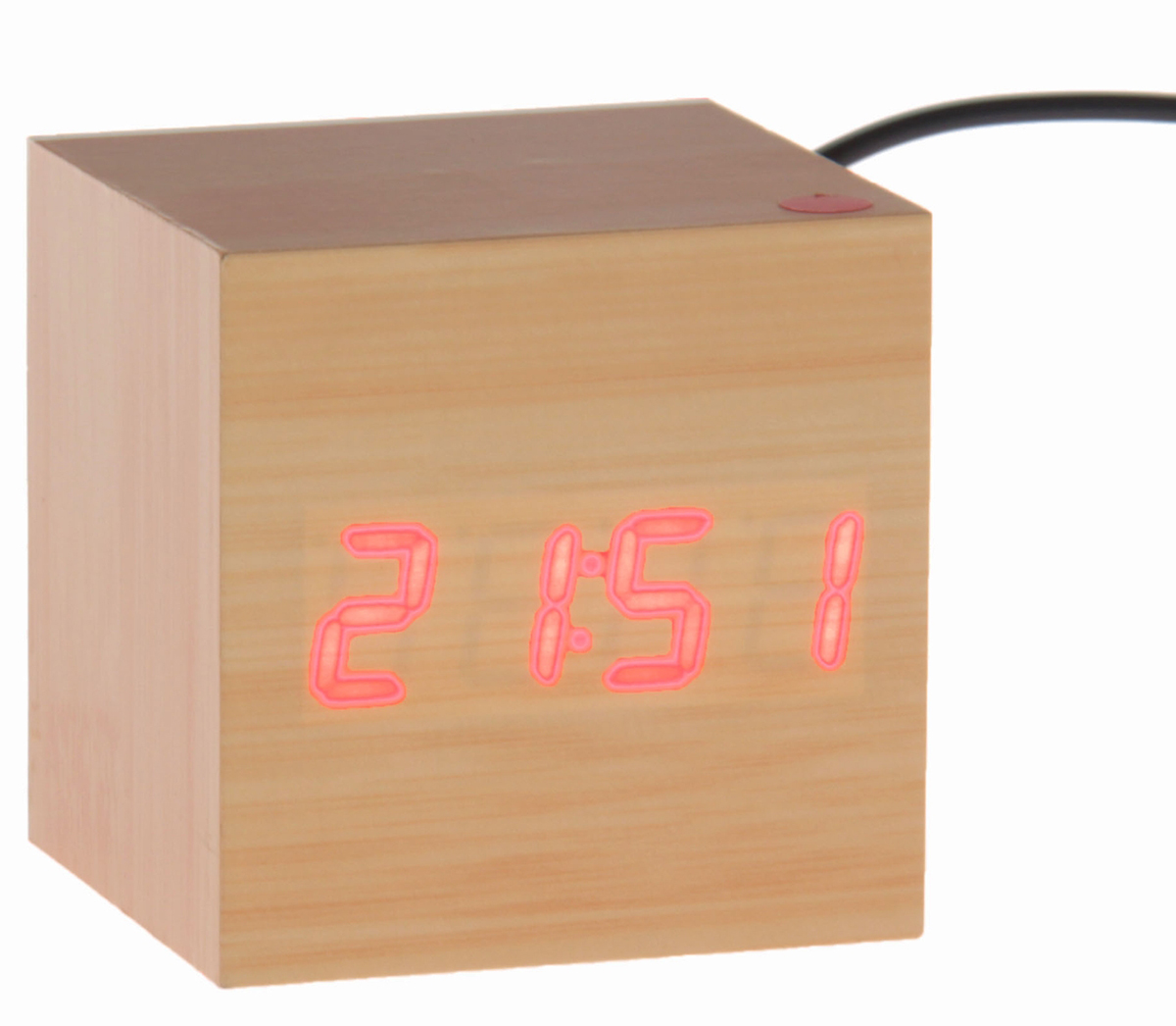 Часы-будильник Luazon Home Деревянный кубик. 749637749637Будильник прикол Деревянный кубик станет стильным акцентом в любом современном интерьере. Оригинальный дизайн в виде деревянного куба, внутри которого установлен голубой проекционный дисплей, выделит эту вещь из общей массы. Часы максимально функциональны, имеют встроенный будильник, три режима отображения (время, месяц, день и температура). Они станут прекрасным подарком для ценителей всего необычного.