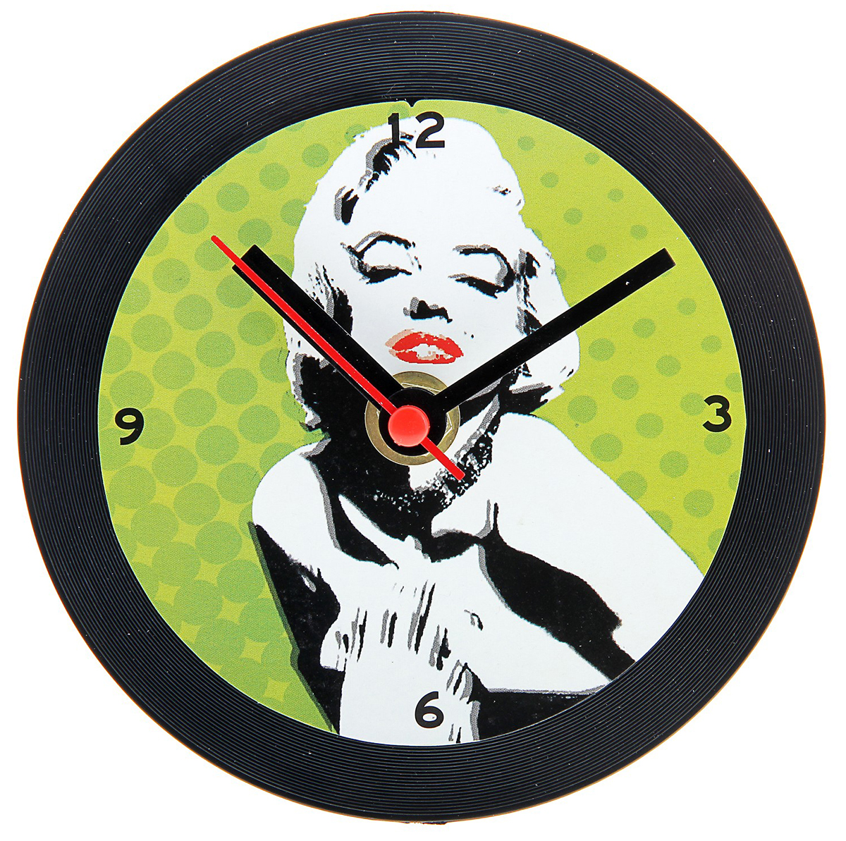 Часы настольные, диаметр 12 см. 760895760895Каждому хозяину периодически приходит мысль обновить свою квартиру, сделать ремонт, перестановку или кардинально поменять внешний вид каждой комнаты. Часы настольные Мэрилин Монро — привлекательная деталь, которая поможет воплотить вашу интерьерную идею, создать неповторимую атмосферу в вашем доме. Окружите себя приятными мелочами, пусть они радуют глаз и дарят гармонию.
