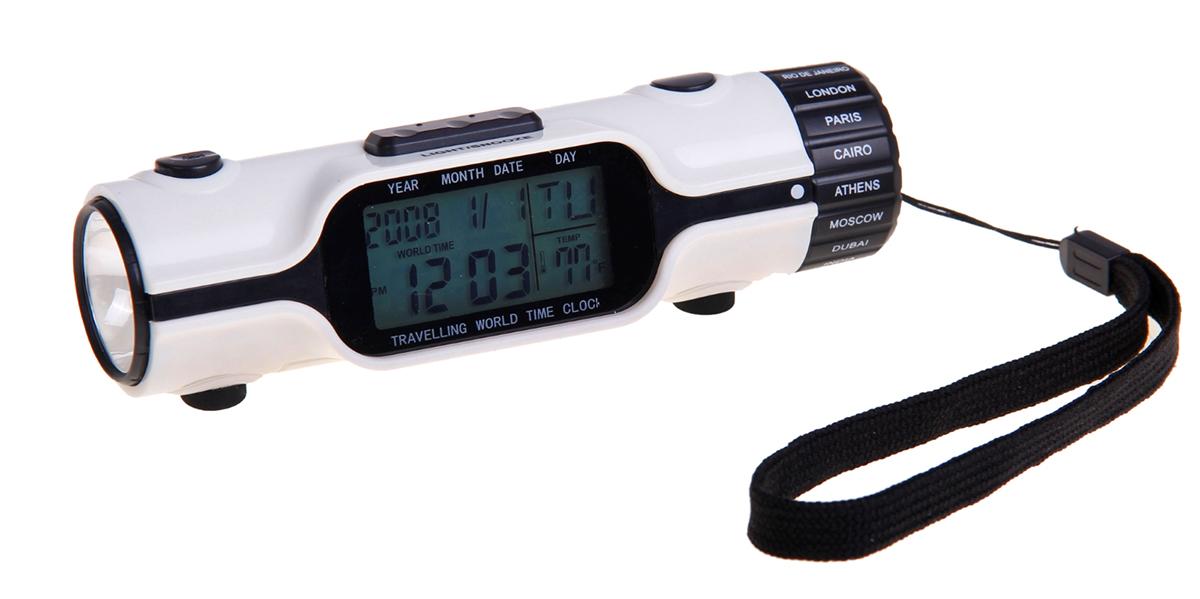 Часы-будильник, с фонариком. 835052835052Электронные часы в форме фонарика удобны в использовании и многофункциональны. Прибор может заменить сразу несколько устройств: часы, будильник, фонарик и термометр. Настройка функций, включая подсветку дисплея, обеспечивается кнопками, расположенными на обратной стороне прибора. Покрутив колёсико-основание, можно настроить местное время одного из восемнадцати крупнейших городов мира. Благодаря подвесу-петле фонарик удобно надевать на руку и носить с собой. Характеристики 12 и 24-часовой форматы времени. Отображение календаря, даты и дня недели. Выбор температуры нужного формата (°С/°F). Возможность отображения дня недели на выбранном языке. Функция будильника и повтора сигнала будильника. Таймер. Возможность отображения времени 18 городов. Функция перевода часов на летнее время. Подсветка дисплея. Функция фонарика. Работает от 3 батареек типа AG13 (входят в комплект) и 2 батареек ААА. Отличный подарок и незаменимое карманное устройство в любом путешествии!