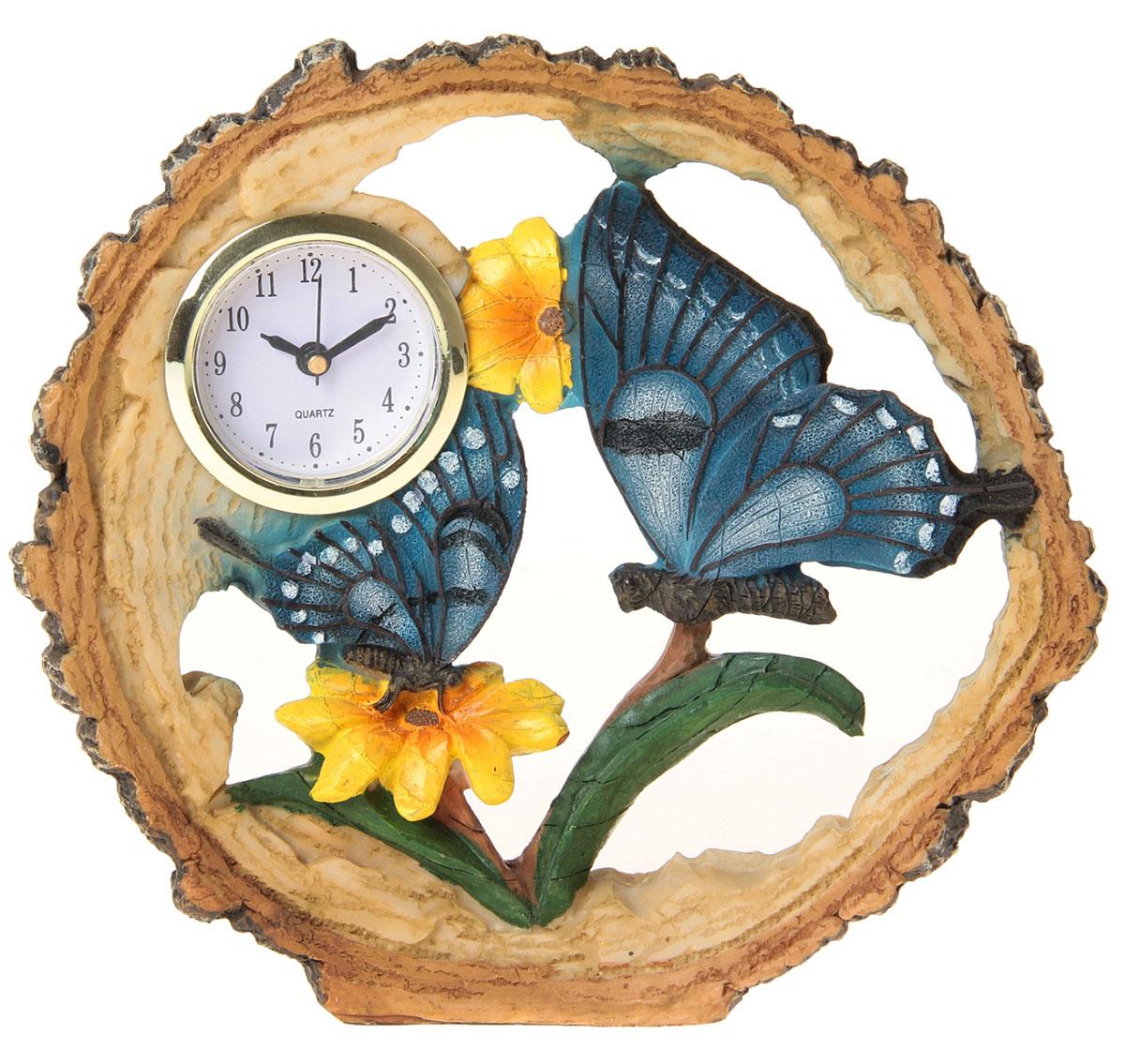 Часы настольные Бабочки на цветах, 16 х 17,5 см. 872899872899Каждому хозяину периодически приходит мысль обновить свою квартиру, сделать ремонт, перестановку или кардинально поменять внешний вид каждой комнаты. Часы настольные Бабочка в цветах — привлекательная деталь, которая поможет воплотить вашу интерьерную идею, создать неповторимую атмосферу в вашем доме. Окружите себя приятными мелочами, пусть они радуют глаз и дарят гармонию.