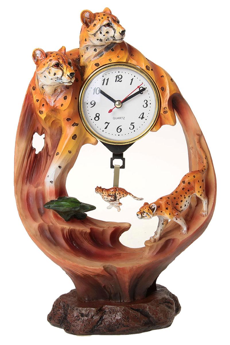 Часы настольные Гепарды на скале, 20,5 х 31,5 см. 872907872907Каждому хозяину периодически приходит мысль обновить свою квартиру, сделать ремонт, перестановку или кардинально поменять внешний вид каждой комнаты. Часы настольные Гепарды на столе — привлекательная деталь, которая поможет воплотить вашу интерьерную идею, создать неповторимую атмосферу в вашем доме. Окружите себя приятными мелочами, пусть они радуют глаз и дарят гармонию.