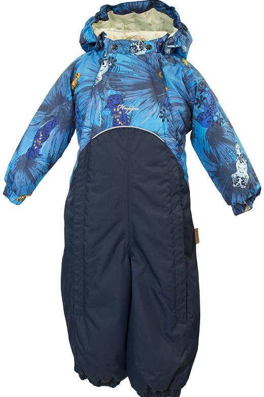 Комбинезон утепленный детский Huppa Golden, цвет: темно-синий, голубой. 36080004-80386. Размер 9836080004-80386Детский утепленный комбинезон Huppa Golden изготовлен из непромокаемой ветрозащитной мембранной ткани на основе полиэстера. Модель застегивается на две удлиненные застежки-молнии спереди, а также на кнопки на воротнике.Комбинезон с длинными рукавами-реглан, воротником-стойкой и съемным капюшоном на кнопках дополнен светоотражающими полосками. Капюшон дополнен двумя эластичными резинками по бокам. Рукава дополнены широкими эластичными манжетами. Брючины также дополнены эластичными манжетами со съемными штрипками на пуговицах. Вес утеплителя - 40 г.