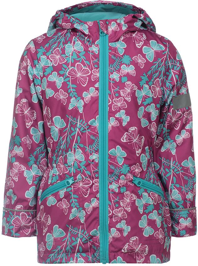 Куртка для девочки Jicco By Oldos Флавия, цвет: фуксия, голубой. 3J8JK04. Размер 134, 9 лет3J8JK04Яркая весенняя ветровка от Jicco By Oldos из принтованной курточной ткани станет украшением весеннего гардероба. Внешняя ткань с водо-грязеотталкивающей пропиткой защищает от ветра и дождя. Подкладка флис, в рукавах - ворсовое полотно гладкой стороной к телу. Капюшон с внутренней резинкой по краям для лучшего прилегания, внутренняя ветрозащитная планка с защитой подбородка от защемления, прямые манжеты, резинка по талии для лучшего прилегания, карманы на молнии. Светоотражающие элементы.