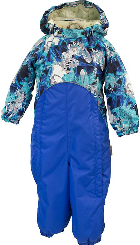 Комбинезон утепленный детский Huppa Golden, цвет: синий, голубой. 36080004-80486. Размер 9836080004-80486Детский утепленный комбинезон Huppa Golden изготовлен из непромокаемой ветрозащитной мембранной ткани на основе полиэстера. Модель застегивается на две удлиненные застежки-молнии спереди, а также на кнопки на воротнике.Комбинезон с длинными рукавами-реглан, воротником-стойкой и съемным капюшоном на кнопках дополнен светоотражающими полосками. Капюшон дополнен двумя эластичными резинками по бокам. Рукава дополнены широкими эластичными манжетами. Брючины также дополнены эластичными манжетами со съемными штрипками на пуговицах. Вес утеплителя - 40 г.