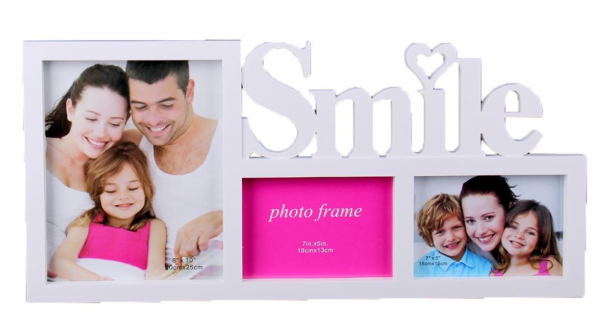 Фоторамка Smile, на 3 фото , цвет: белый. 1020858 фоторамка коллаж moretto на 8 фото 238003
