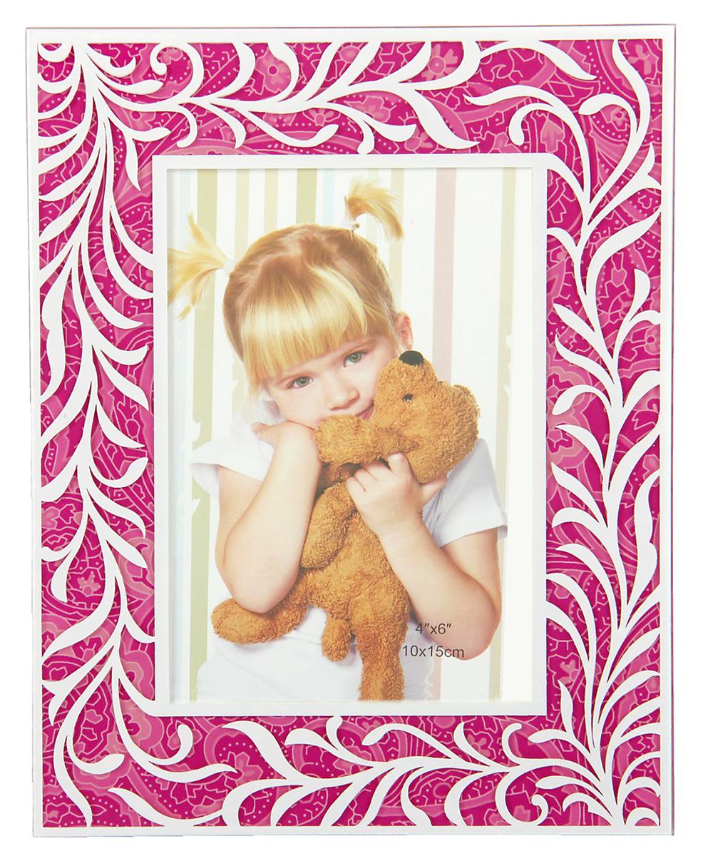 """Фоторамка """"Вьюнок на розовом"""" сохранит самые прекрасные моменты вашей жизни.Характеристики: Материал: стеклоРазмер: 10 х 15 см."""