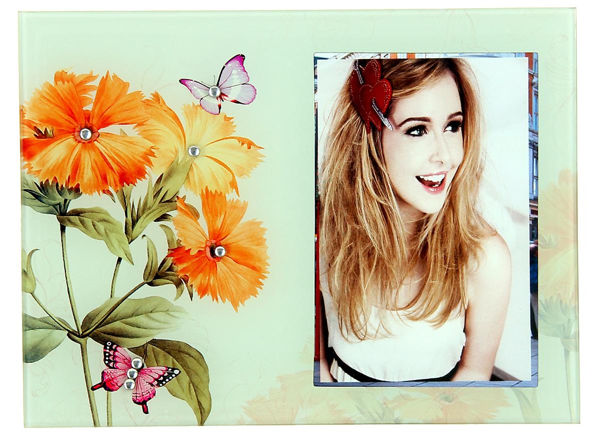 Фоторамка Оранжевые цветы, стекло, со стразами, 9х13 см , цвет: оранжевый. 10293101029310