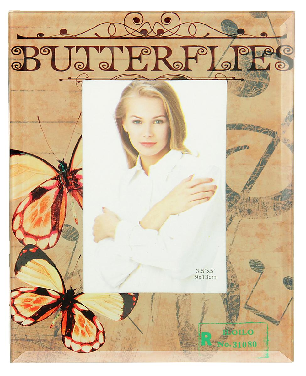 Фоторамка Музыкальная бабочка, стекло, 9 х 13 см , цвет: бежевый. 10293121029312