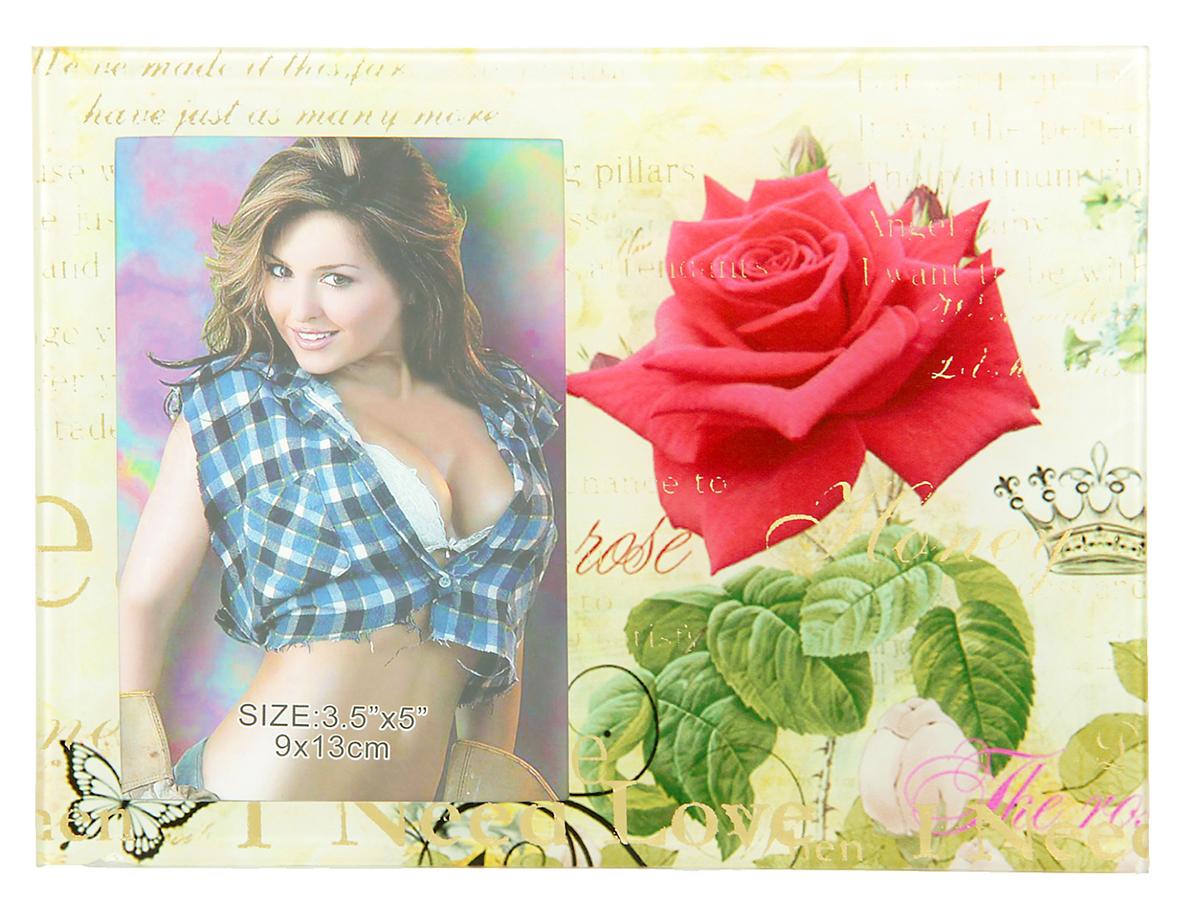 """Фоторамка """"Алая роза"""" сохранит самые прекрасные моменты вашей жизни.Характеристики: Материал: стеклоРазмер: 9 х 13 см."""