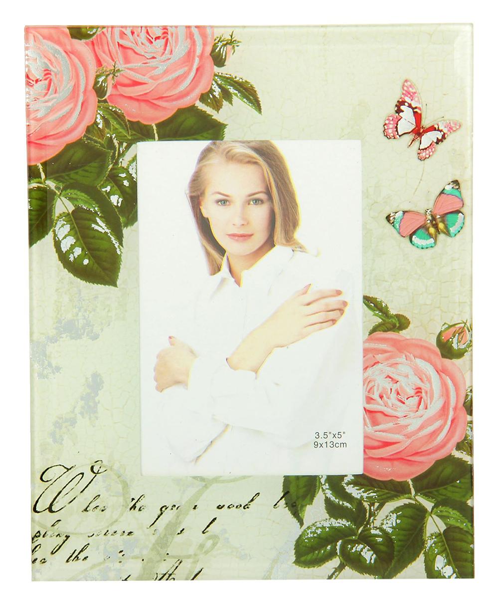 """Фоторамка """"Розовые розы"""" сохранит самые прекрасные моменты вашей жизни.Характеристики: Материал: стеклоРазмер: 9 х 13 см."""