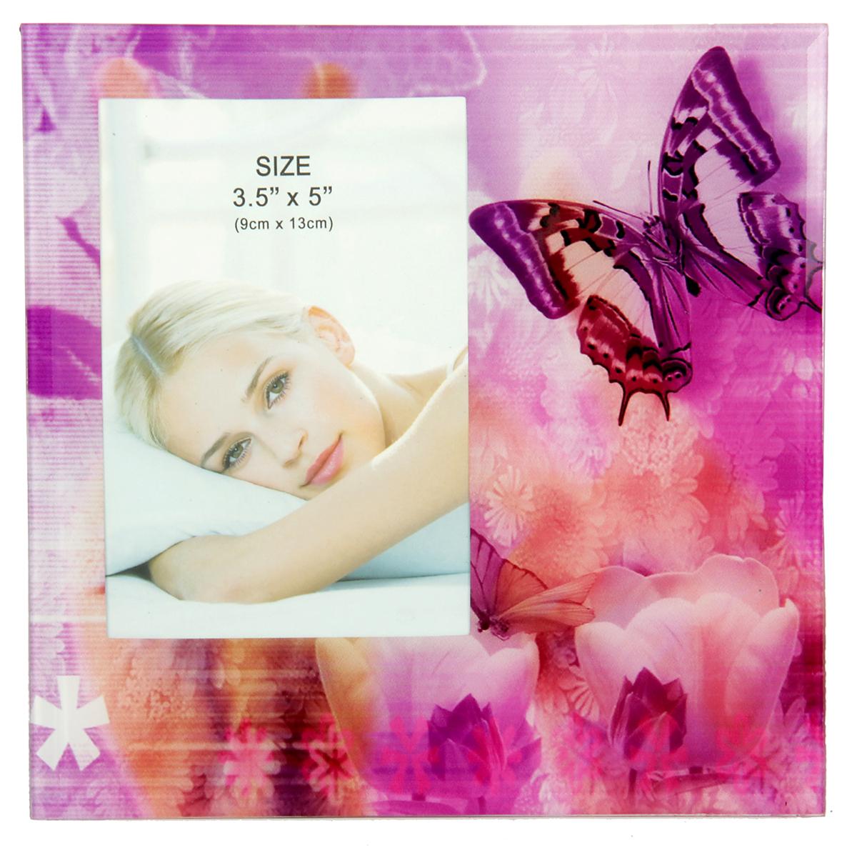 Фоторамка Сиреневая бабочка, стекло, 9 х 13 см , цвет: розовый. 10337201033720