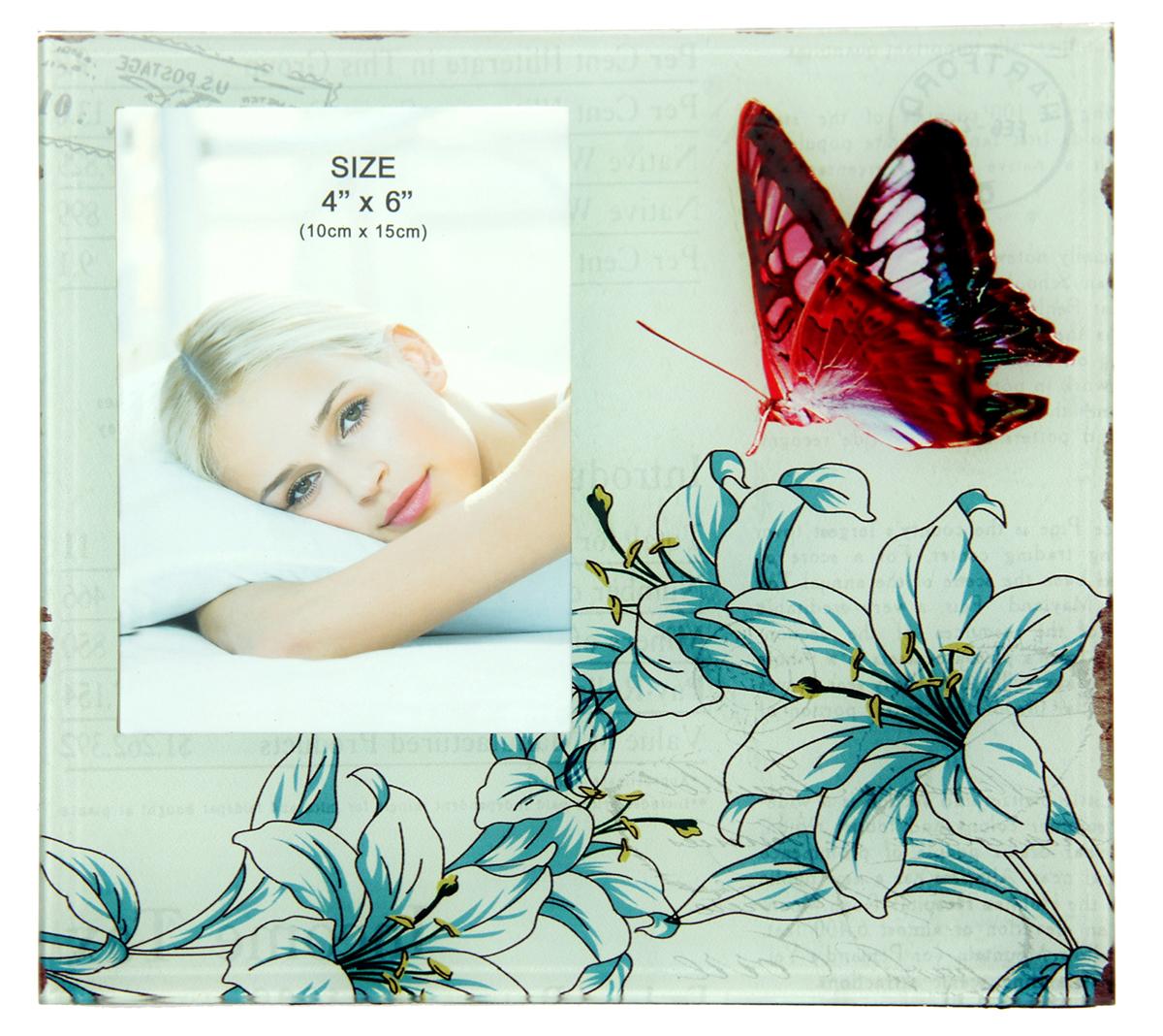 Фоторамка Бабочка в лилиях, 10 х 15 см , цвет: голубой. 1033721