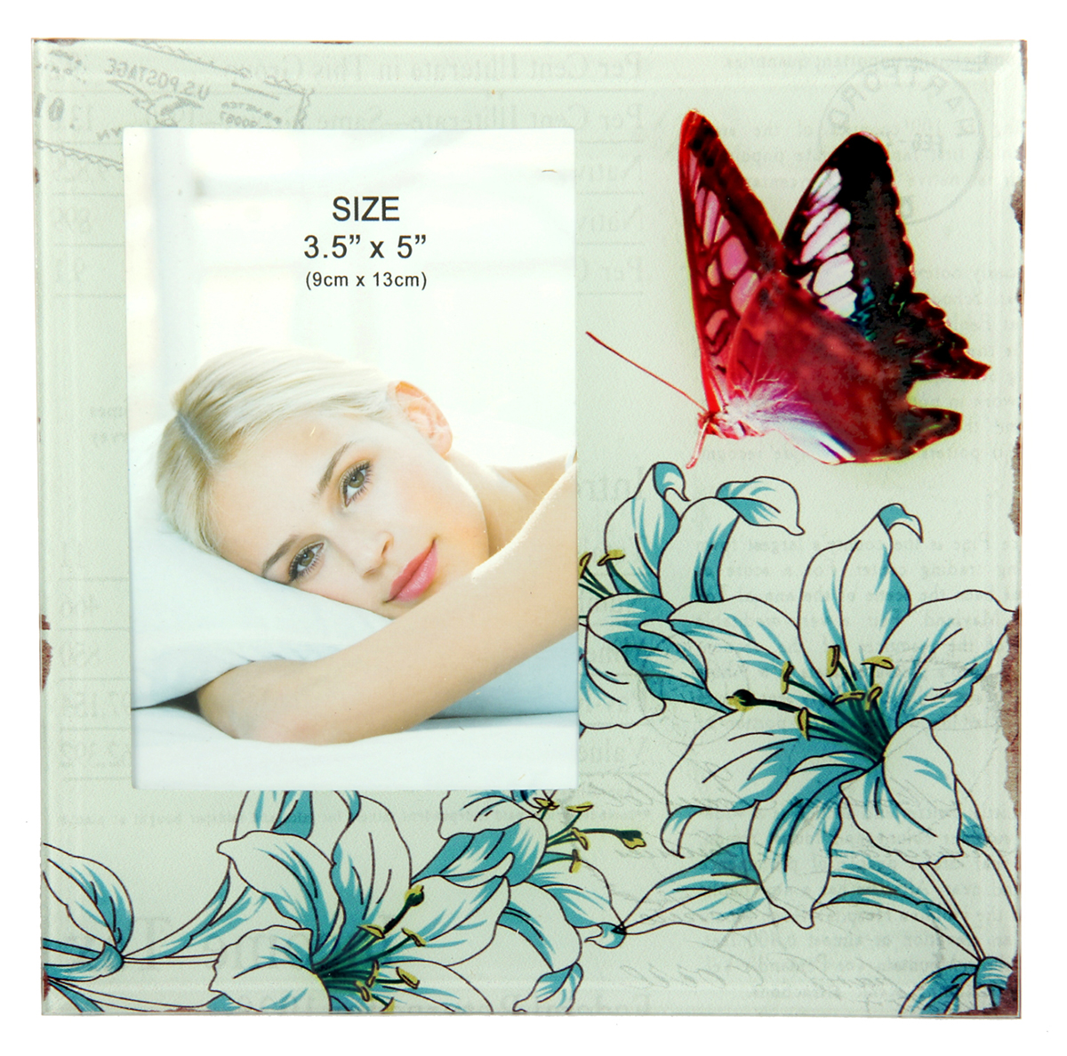 Фоторамка Бабочка в лилиях, 9 х 13 см. 10337221033722Фоторамка Бабочка в лилиях сохранит самые прекрасные моменты вашей жизни.Характеристики: Материал: стеклоРазмер: 9 х 13 см.