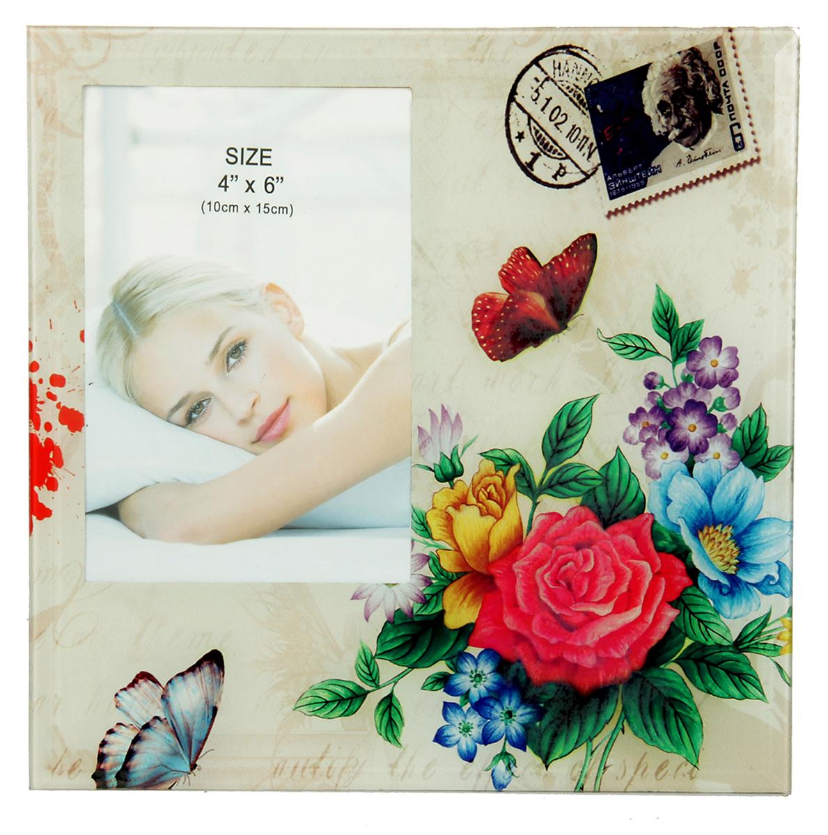 Фоторамка Цветочное послание, стекло, 10 х 15 см , цвет: серый. 10337231033723