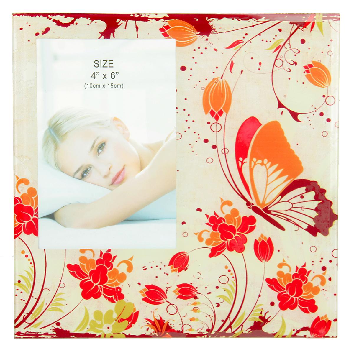 """Фоторамка """"Оранжевая бабочка"""" сохранит самые прекрасные моменты вашей жизни.Характеристики: Материал: стеклоРазмер: 10 х 15 см."""