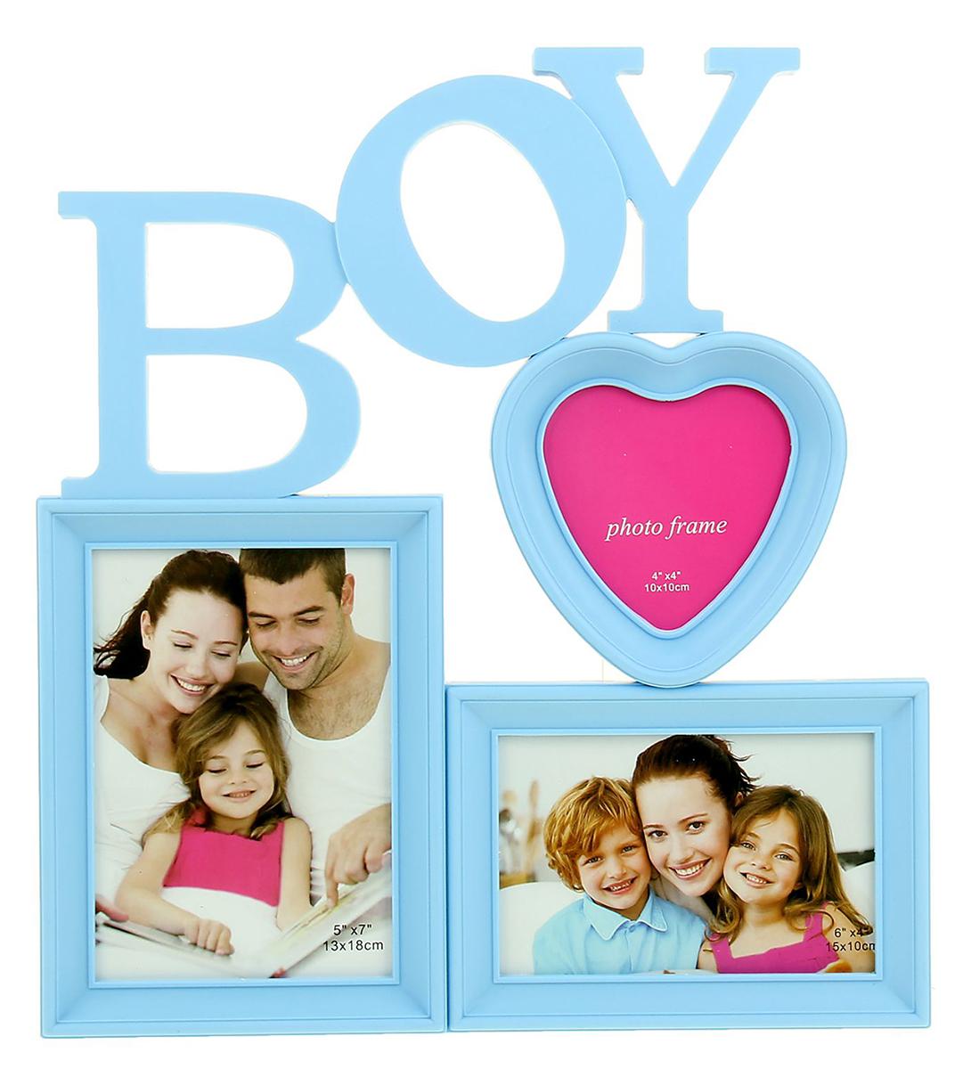Фоторамка Мальчик, на 3 фото, 10 х 10, 10 х 15 см, цвет: голубой. 11097501109750Ломаете голову над тем, что подарить своей второй половине, коллеге или другу? Купите в подарокфоторамку-коллаж — это универсальный и оригинальный подарок, уместный для любого повода. Коллаж на стену необязательно кому-то дарить — вы можете порадовать покупкой и самого себя. Просто сделайте подборку из лучших и любимых фотографий и разместите их в фоторамках. Вы можете создать тематические серии из фото и периодически их менять. Фоторамка — отличная возможность не ограничиваться вставкой одного фото — разместить можно одновременно несколько снимков.