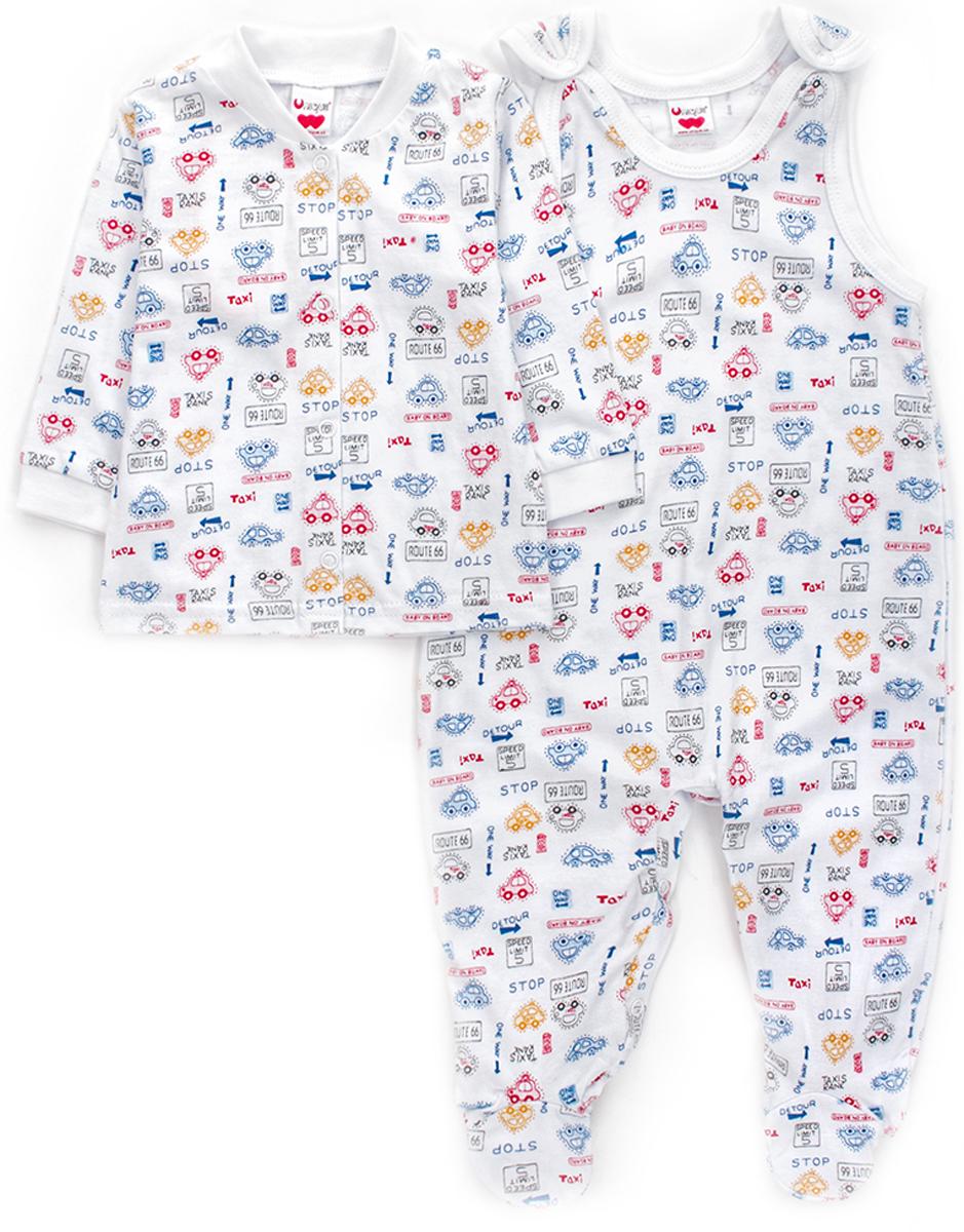 Комплект для мальчика Unique: ползунки, распашонка, цвет: белый. U008201. Размер 74