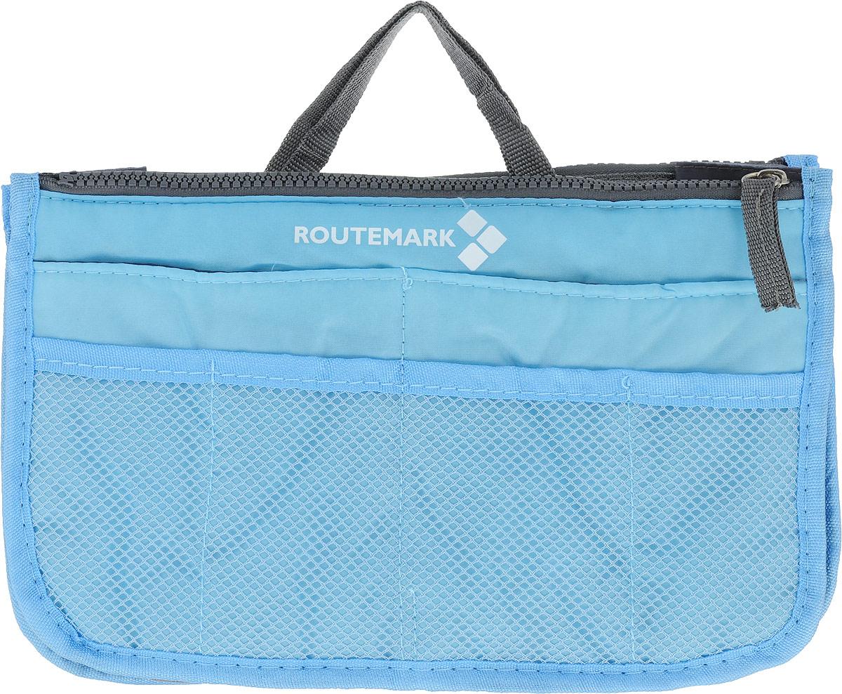 Органайзер для сумки Routemark, цвет: голубой, 27 х 16 см1746Практичный органайзер для сумки Routemark, имеющий компактные размеры и стильный дизайн, позволит навести порядок и положить все вещи на свои места. Это умное решение, которое вы непременно оцените после первого же использования. У каждой мелочи будет свое место. Возможности сумки не столь широки, а вот органайзер вполне с этим справится. Ведь у этого практичного аксессуара, выполненного из высококачественного материала, сразу 12 кармашков различных размеров. Вы с легкостью уберете телефон, косметичку, маникюрный набор, заколки, косметику.