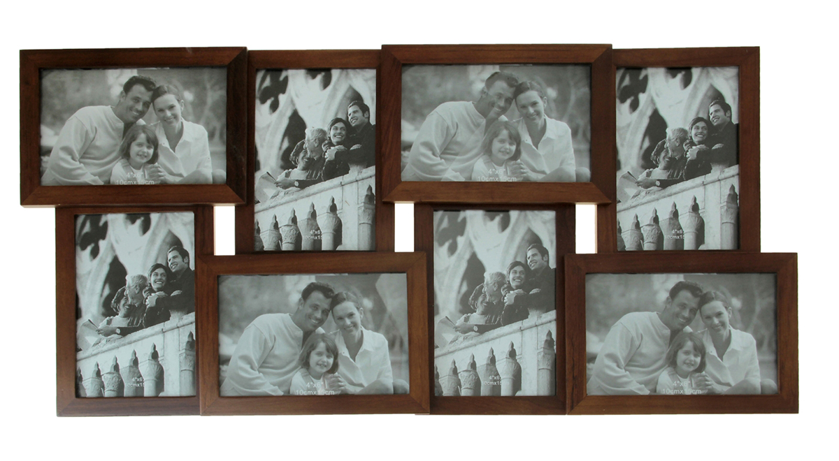 Фоторамка Родные люди, на 8 фото, цвет: коричневый. 133490133490Фоторамка — необходимая вещь в каждом доме. Кроме того, это всегда нужный подарок, который уместен к любому празднику. Аксессуар не только бережно сохранит любимый снимок, но и украсит интерьер, сделает его более уютным и индивидуальным. Окружайте себя мелочами, которые день ото дня будут радовать глаз и поднимать настроение. Каждому хозяину периодически приходит мысль обновить свою квартиру, сделать ремонт, перестановку или кардинально поменять внешний вид каждой комнаты. Фоторамка на 8 фото 10х15 см Родные люди, цвет махагон — привлекательная деталь, которая поможет воплотить вашу интерьерную идею, создать неповторимую атмосферу в вашем доме. Окружите себя приятными мелочами, пусть они радуют глаз и дарят гармонию.