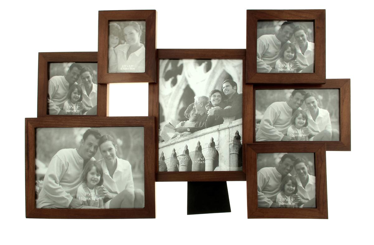 Фоторамка Калейдоскоп, на 7 фото, цвет: коричневый. 133494133494Фоторамка — необходимая вещь в каждом доме. Кроме того, это всегда нужный подарок, который уместен к любому празднику. Аксессуар не только бережно сохранит любимый снимок, но и украсит интерьер, сделает его более уютным и индивидуальным. Окружайте себя мелочами, которые день ото дня будут радовать глаз и поднимать настроение. Каждому хозяину периодически приходит мысль обновить свою квартиру, сделать ремонт, перестановку или кардинально поменять внешний вид каждой комнаты. Фоторамка на 7 фото 6,5х9 см, 9х9 см, 9х13 см, 13х18 см Калейдоскоп, цвет махагон — привлекательная деталь, которая поможет воплотить вашу интерьерную идею, создать неповторимую атмосферу в вашем доме. Окружите себя приятными мелочами, пусть они радуют глаз и дарят гармонию.