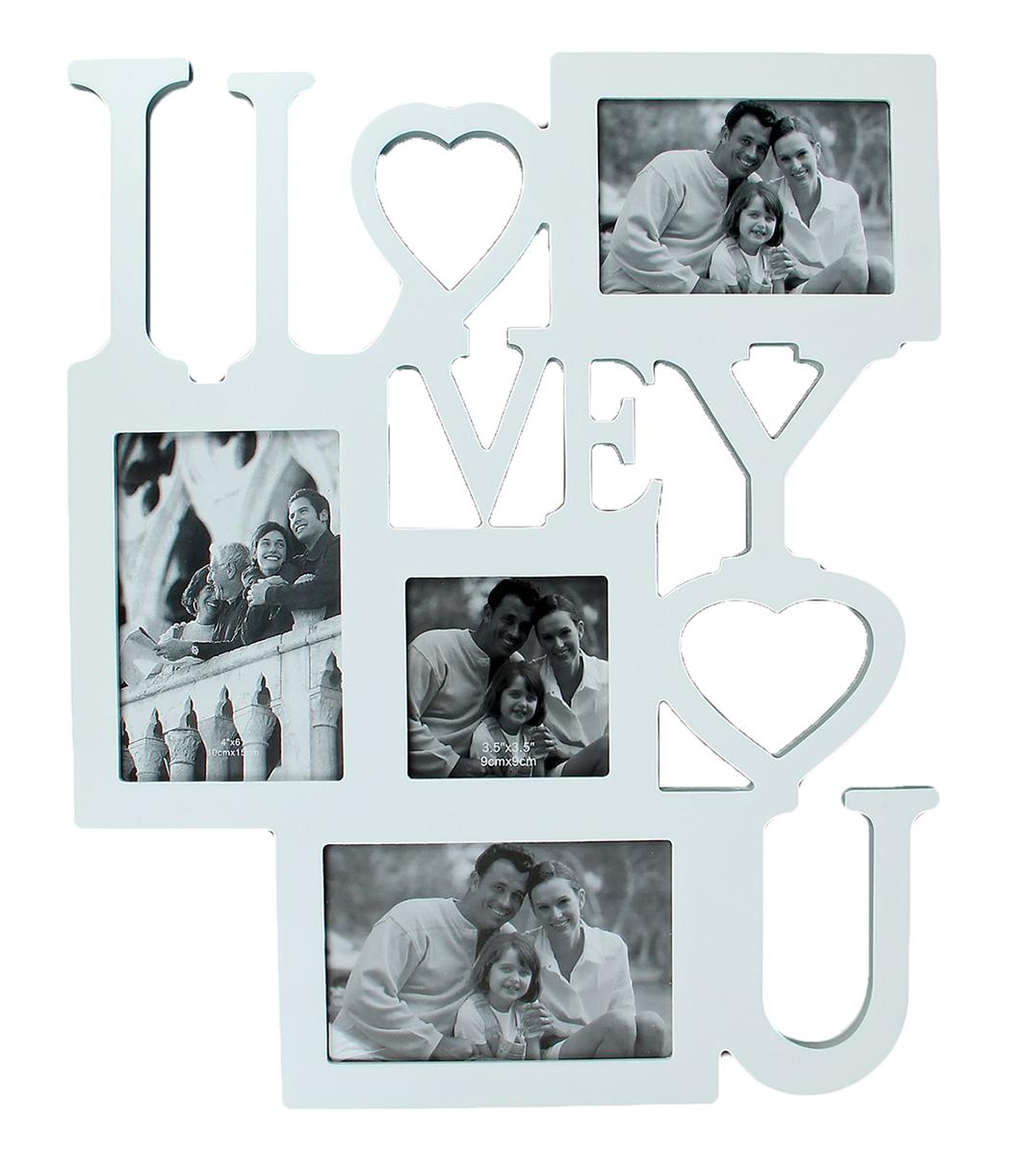 Фоторамка I Love You, на 4 фото, цвет: белый. 133497133497Фоторамка — необходимая вещь в каждом доме. Кроме того, это всегда нужный подарок, который уместен к любому празднику. Аксессуар не только бережно сохранит любимый снимок, но и украсит интерьер, сделает его более уютным и индивидуальным. Окружайте себя мелочами, которые день ото дня будут радовать глаз и поднимать настроение. Каждому хозяину периодически приходит мысль обновить свою квартиру, сделать ремонт, перестановку или кардинально поменять внешний вид каждой комнаты. Фоторамка на 4 фото 9х9 см, 9х13 см, 10х15 см I LOVE YOU — привлекательная деталь, которая поможет воплотить вашу интерьерную идею, создать неповторимую атмосферу в вашем доме. Окружите себя приятными мелочами, пусть они радуют глаз и дарят гармонию.