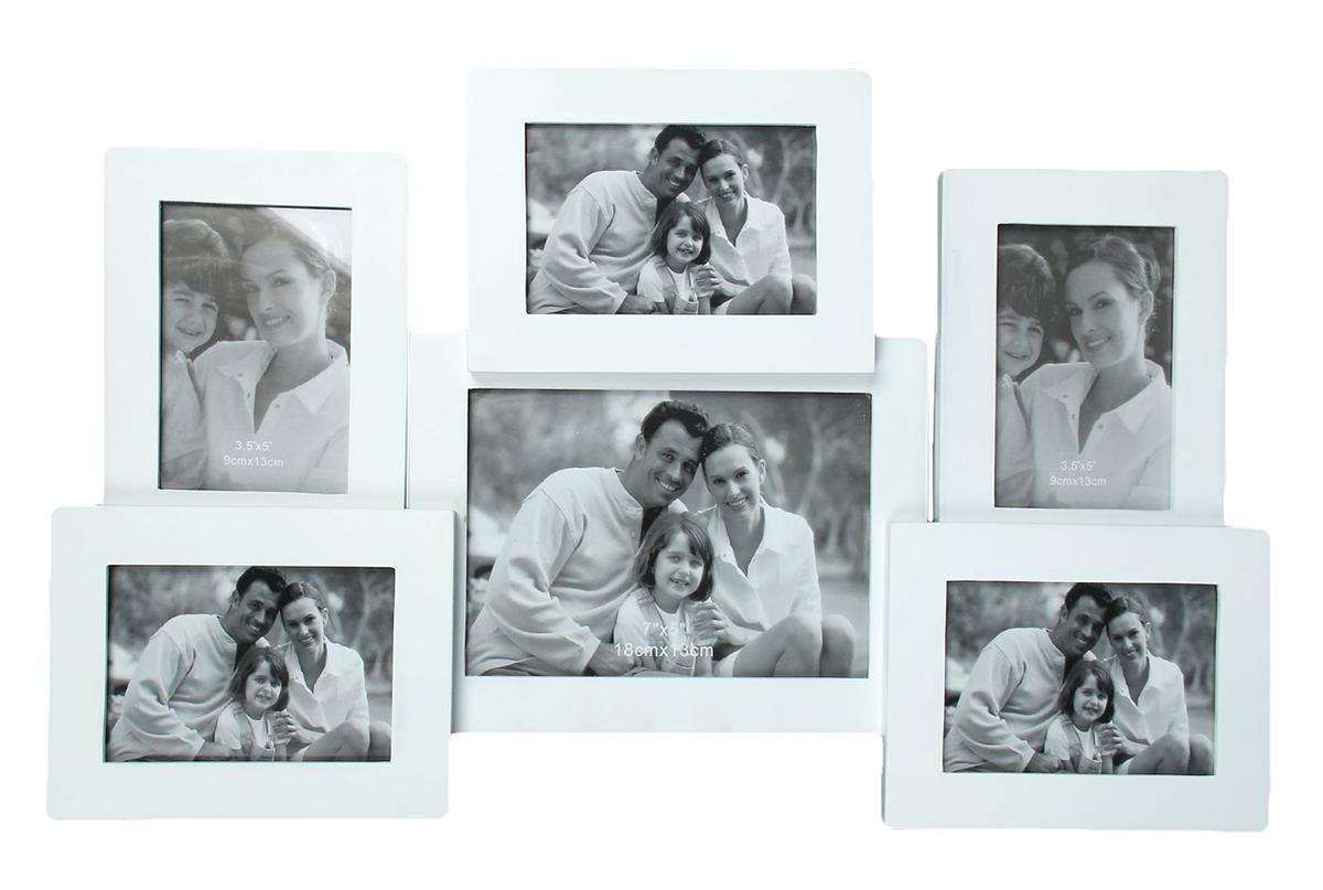 Фоторамка Семейные истории, на 6 фото, цвет: белый. 133509133509Каждому хозяину периодически приходит мысль обновить свою квартиру, сделать ремонт, перестановку или кардинально поменять внешний вид каждой комнаты. Фоторамка на 6 фото 9х13 см, 13х18 см Семейные истории белая — привлекательная деталь, которая поможет воплотить вашу интерьерную идею, создать неповторимую атмосферу в вашем доме. Окружите себя приятными мелочами, пусть они радуют глаз и дарят гармонию. Фоторамка — необходимая вещь в каждом доме. Кроме того, это всегда нужный подарок, который уместен к любому празднику. Аксессуар не только бережно сохранит любимый снимок, но и украсит интерьер, сделает его более уютным и индивидуальным. Окружайте себя мелочами, которые день ото дня будут радовать глаз и поднимать настроение.