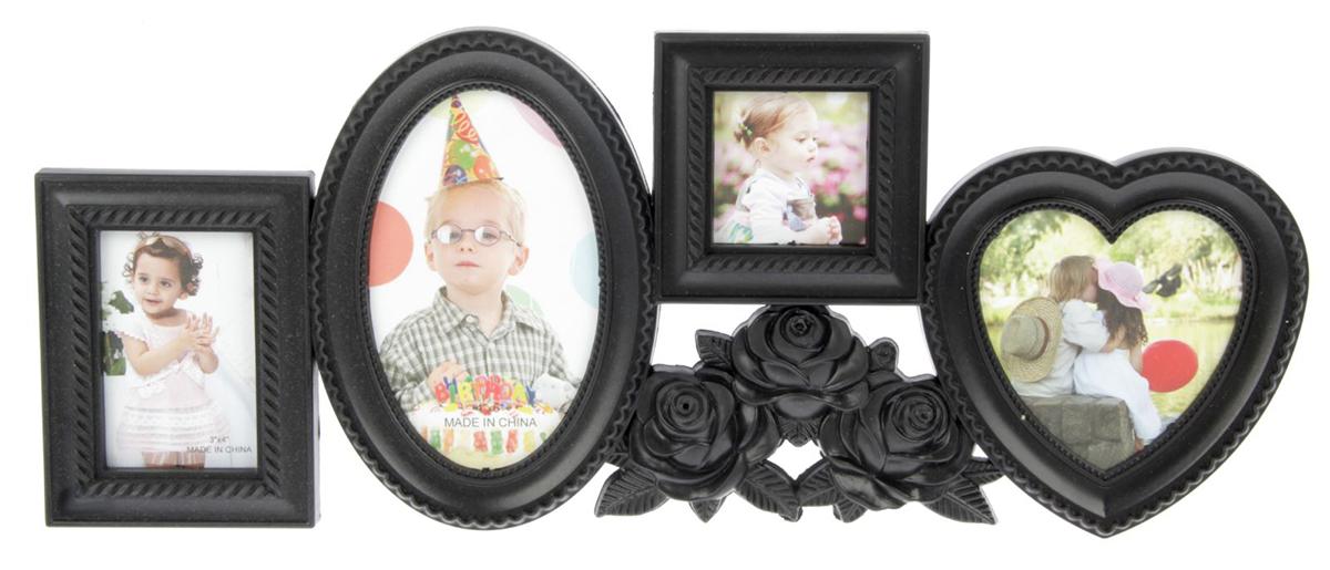Фоторамка Чёрные розы, на 4 фото, цвет: черный. 134711134711Ломаете голову над тем, что подарить своей второй половине, коллеге или другу? Купите в подарок фоторамку - коллаж - это универсальный и оригинальный подарок, уместный для любого повода. Коллаж на стену необязательно кому-то дарить - вы можете порадовать покупкой и самого себя. Просто сделайте подборку из лучших и любимых фотографий и разместите их в фоторамках. Вы можете создать тематические серии из фото и периодически их менять. Фоторамка - отличная возможность не ограничиваться вставкой одного фото - разместить можно одновременно несколько снимков.