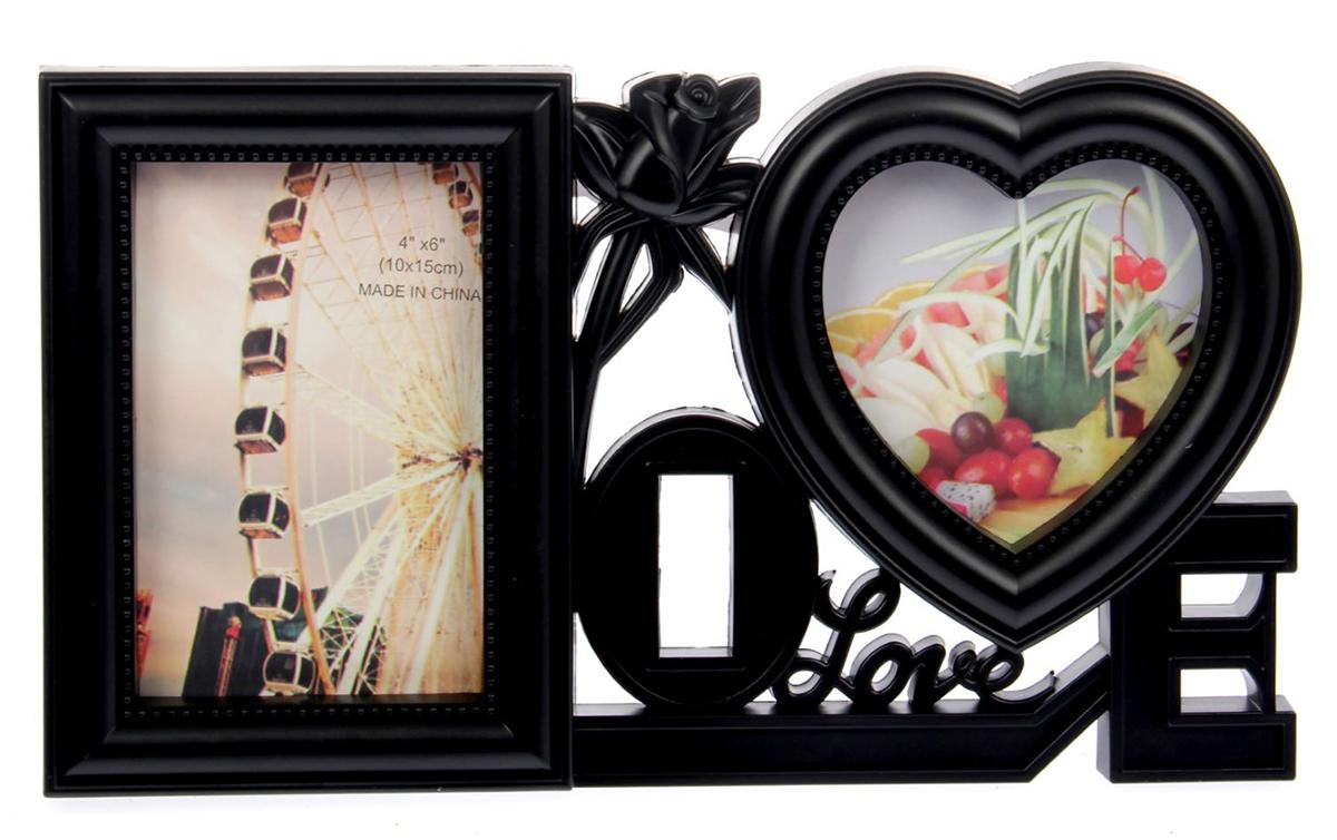 Фоторамка Любовь везде, на 2 фото, 10 х 15 см, цвет: черный. 15161841516184Правда приятно, когда над подарком кто-то потрудился, приложил усилия, особенно если это дорогой сердцу человек? Преподнесите такую фоторамку на несколько фотографий с вашими совместными или семейными снимками. Будьте уверены, что человек оценит такой жест. Теперь вы с легкостью можете объединить несколько дорогих сердцу воспоминаний воедино, ведь время от времени вы будете поглядывать на эту композицию и нежно улыбаться.
