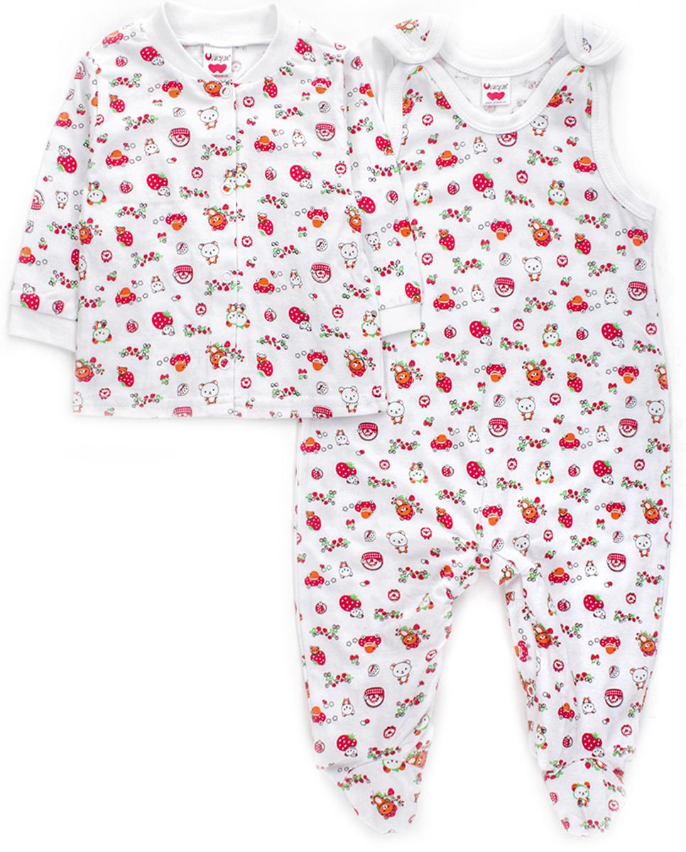 Комплект детский Unique: ползунки, распашонка, цвет: белый, красный. U010301. Размер 74