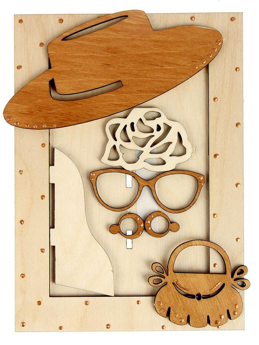 Фоторамка Мадам. 15301311530131Перед вами забавная фоторамка «Мадам» с комплектом декоративных элементов. Узнайте, как будут смотреться на вас светская шляпка, очки и объёмная брошь! Примерьте на себя новый образ, не прибегая к дополнительным аксессуарам: просто поместите свою фотографию в рамку.