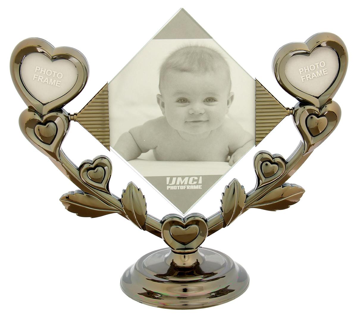 Фоторамка Сердечки, на 3 фото, цвет: серый. 1636526 фоторамки русские подарки фоторамка