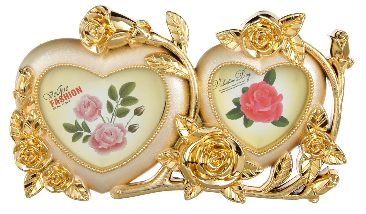 Фоторамка 2 Сердца с розами, на 2 фото, 6 х 6,5, 7 х 8 см, цвет: золотой. 19331933Фоторамка - казалось бы, небольшой аксессуар, который напомнит о счастливых днях, проведенных наедине друг с другом, с семьей, а также украсит домашний интерьер, придавая ему тот неповторимый уют, который возможен только в доме, где царят гармония и любовь. Она станет замечательным подарком на 14 февраля, годовщину или в другой значимый для вас день, чтобы просто порадовать свою вторую половинку.