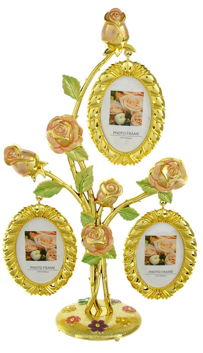 Фоторамка Дерево с розами, на 3 фото , цвет: золотой. 19335971933597Фоторамка станет хранителем ярких моментов жизни, а также поможет украсить интерьер. Благодаря своему лаконичному дизайну она впишется в любое пространство. Разместите её на рабочем столе, и вы сможете каждый день мысленно возвращаться в те времена, когда был сделан вставленный в оправу снимок. Или сделайте интересный подарок: распечатайте любимую фотографию адресата и вручите сразу вместе с рамкой. Такой презент запомнится надолго!