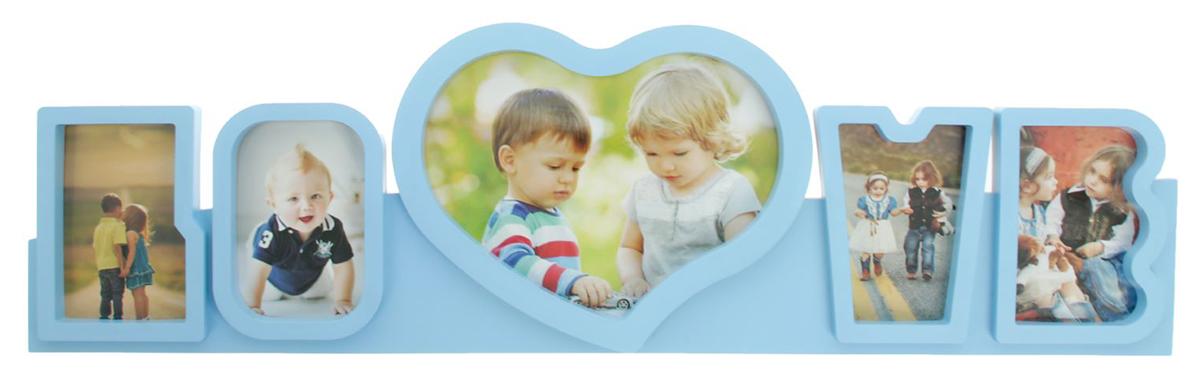 Фоторамка Любовь, на 5 фото, цвет: голубой. 19356471935647Правда приятно, когда над подарком кто-то потрудился, приложил усилия, особенно если это дорогой сердцу человек? Преподнесите такую фоторамку на несколько фотографий с вашими совместными или семейными снимками. Будьте уверены, что человек оценит такой жест. Теперь вы с легкостью можете объединить несколько дорогих сердцу воспоминаний воедино, ведь время от времени вы будете поглядывать на эту композицию и нежно улыбаться.